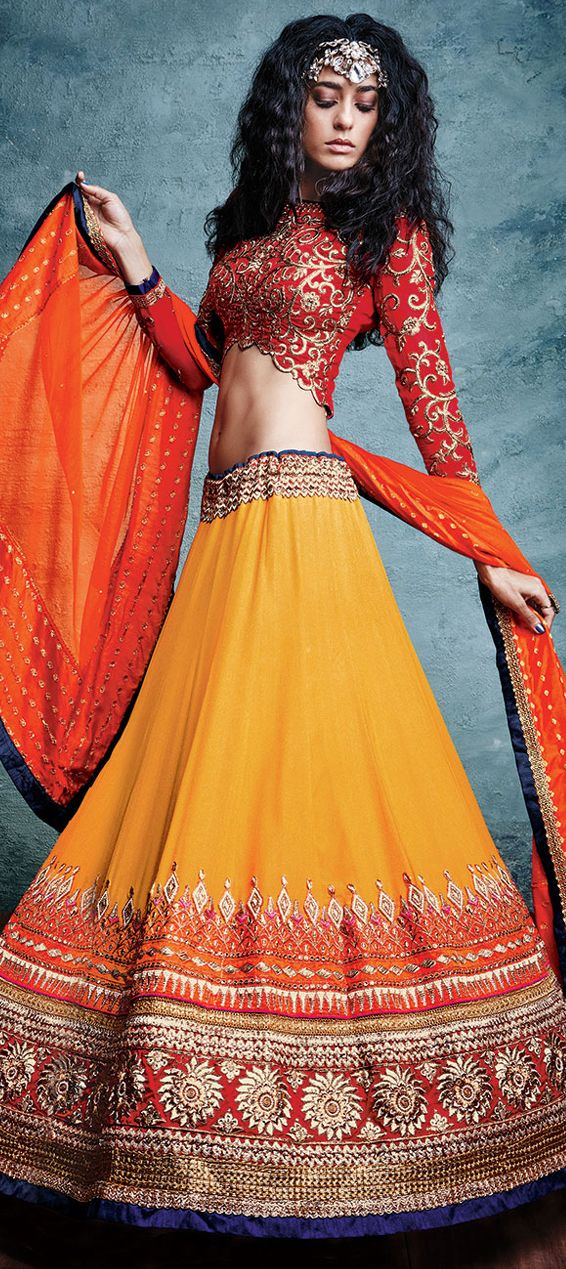 180867: Orange color family Bridal Lehenga, Wedding Lehngas .