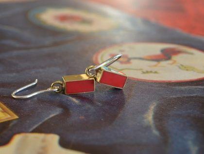 Rectangular brass and red resin earrings on sterling silver hooks- handmade.