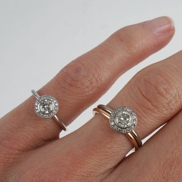 vintage antique inspired old cut diamond halo target rings one platinum and one white - Target Wedding Rings