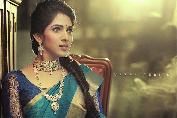 South Indian bride. Indian diamond bridal jewelry. Jhumkis.Blue silk kanchipuram sari.Fishtail side Braid. Tamil bride. Telugu bride. Kannada bride. Hindu bride. Malayalee bride.Kerala bride.South Indian wedding