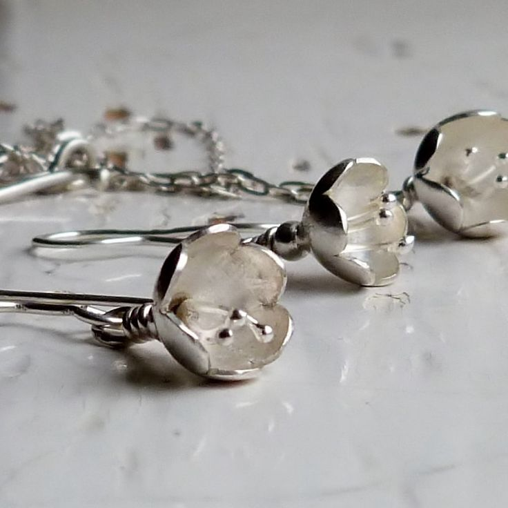 Silver Flower Necklace and Earring Set, Handmade Silver Jewellery.
