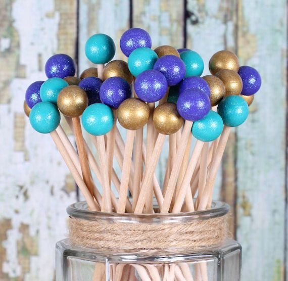"Mermaid Party Lollipop Sticks in Teal, Purple & Gold, Cake Pops Sticks, Dessert Skewers, Princess, Hand-Painted Rock Candy Sticks (6""-12 ct)"