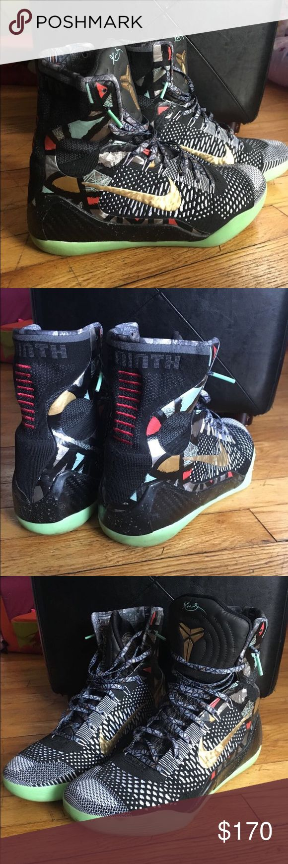 "Nike sz 10 Kobe Bryant ""Gumbo"" all star from 2013 Nike sz 10 Kobe Bryant maestro ""Gumbo"" all star from 2013 in gently used condition .. uppers are clean, comes with original box and the bottom soles glow Nike Shoes Sneakers"