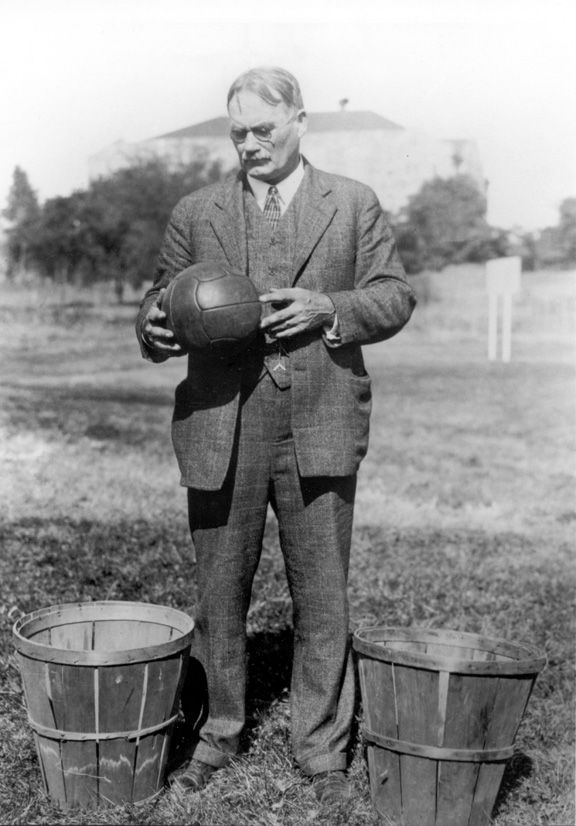 James Naismith (Nov 6, 1861–Nov 28, 1939). Canadian-American sports coach & innovator. Invented the sport of basketball (1891). Credited with introducing first football helmet. Wrote original basketball rule-book. Founded Univ. of Kansas basketball program. Saw basketball adopted as Olympic demonstration sport (1904) & official event at Summer Olympics, Berlin (1936), and birth of National Invitation Tournament (1938) & NCAA Men's Division I Basketball Championship (1939).