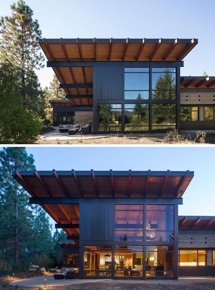 Esta moderna cabina tiene un techo inclinado, un detalle de diseño que se incluyó para permitir el uso de paneles solares que proporcionan toda la energía que necesita la cabina.