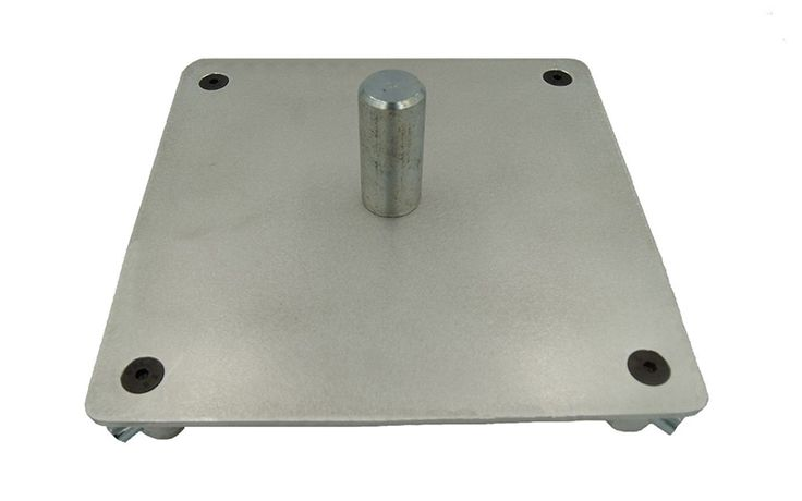 "12""x 12"" square aluminum truss base or top plate with a 3"" high or 35mm or 1.375"" diameter speaker mount pin. Standard factory aluminum mill finish. Plates have been sanded to remove scratches and to give it an attractive finish. Our aluminum plates are manufactured in MN. Made in Minnesota USA quality. #quikstage #stanchionexpress #stage #truss #event #church #dj #entertainment #staging #pipe #drape #pipeanddrape #temporary #wall #portable #portablechurch #truss #trussing #trussbase"