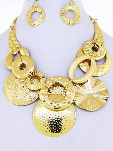 Chunky Circular Charm Gold Chain Necklace Earring Set Fashion Costume Jewelry