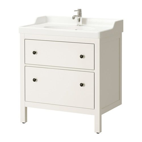 HEMNES / RÄTTVIKEN Sink cabinet with 2 drawers, white white 31 1/2x19 1/4x35