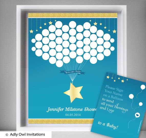 Items Similar To Boy Star Guest Book Printable Alternative And Boy Star  Wall Art For Baby Star Shower DIY Gold Blue Twinkle On Etsy