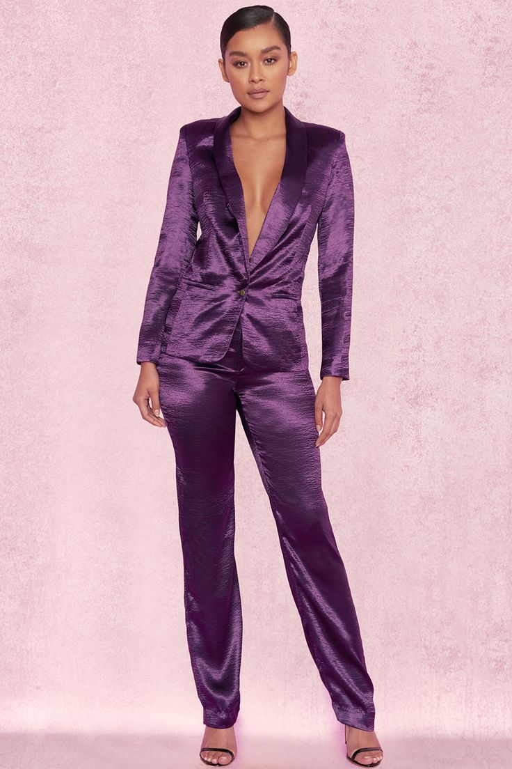 Clothing 2 Pieces Amellina Deep Purple Satin Trouser