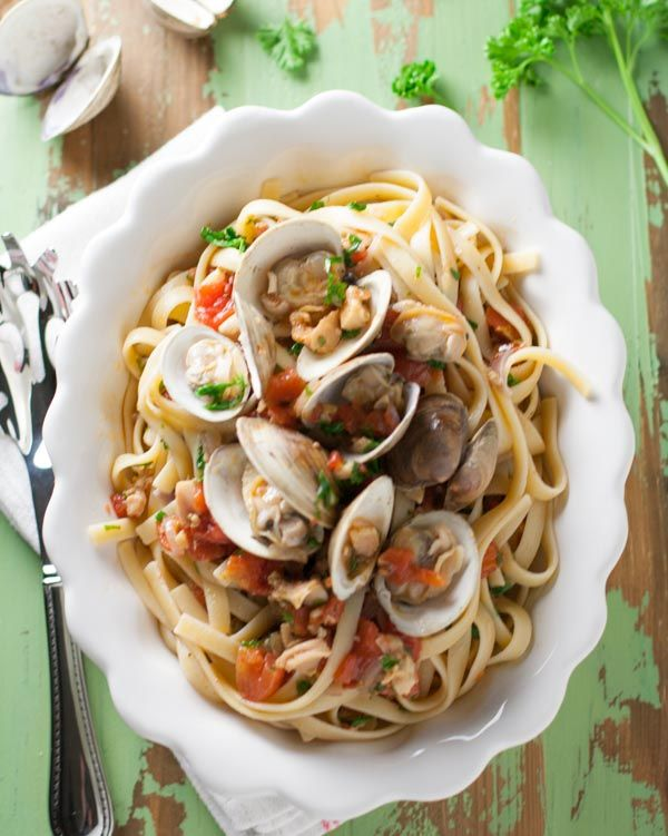 Tuscan Style Clam Sauce | My favorite pasta dish of all time! Fresh and canned clams, sweet onions, chopped tomatoes, white wine, and mild roasted banana peppers....yum!!!