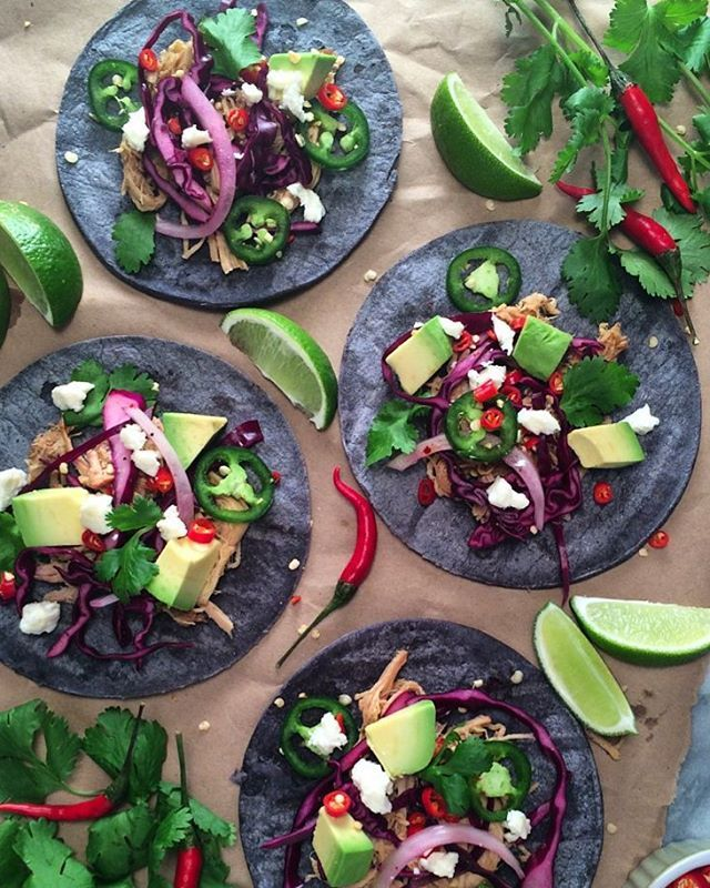 #TacoThursday... is that a thing? Slow cooked pulled pork, with purple slaw, chillies, queso fresco, avocado & cilantro on corn tortillas. #Fresh @zimmysnook
