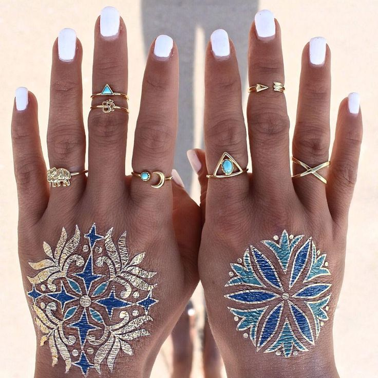 #7 #Set #Boho #Fashion #Women #Ring #Sets #Gold #Plated #Animal #Char #Turquoise #Retro #Moon #Arrow #Ring #Set
