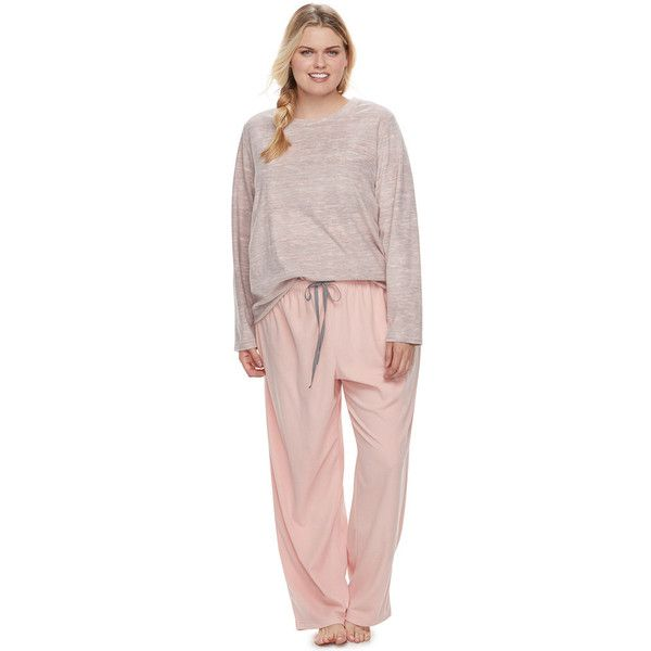Plus Size SONOMA Goods for Life™ Pajamas: Microfleece Top & Pants... (28 CAD) ❤ liked on Polyvore featuring plus size women's fashion, plus size clothing, plus size intimates, plus size sleepwear, plus size pajamas, lt orange, plus size, plus size pajama sets, polar fleece pajamas and orange pajamas