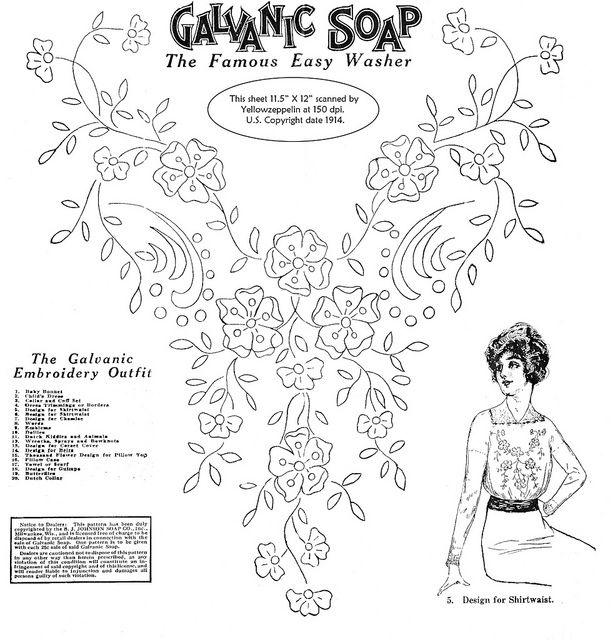 Galvanic Soap embroidery transfer for shirtwaist by yellowzeppelin, via Flickr