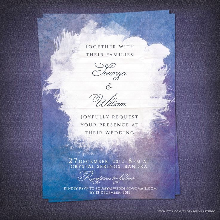 Blue and Purple Wedding Invitation, Lilac Wedding Invitation, Watercolor Wedding Invitation, Printable Wedding Invitation by soumyasinvitations on Etsy https://www.etsy.com/listing/170904390/blue-and-purple-wedding-invitation-lilac
