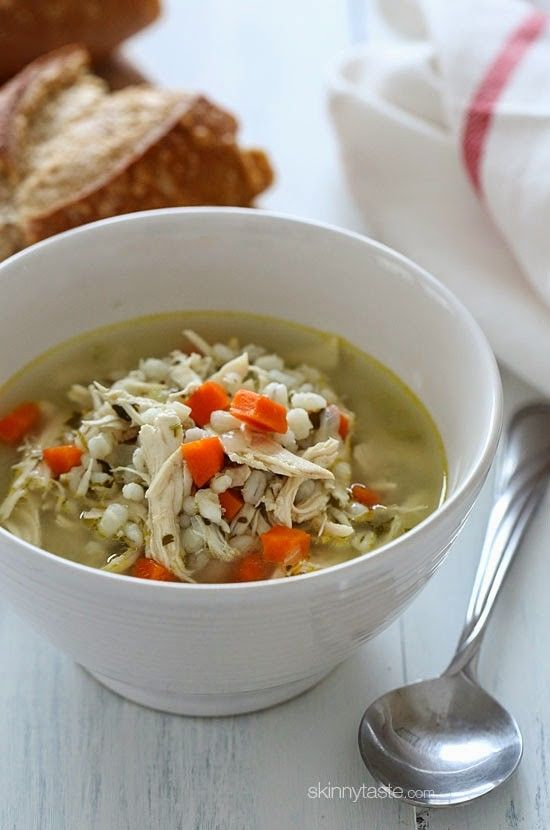 Warm up with a bowl of this Chicken and Barley Soup! My entire family loves this including my five year old, and the leftovers are better the next day!  This week's forecast – snow, snow and more snow! Making soup is my way of dealing with February and the cold. I like to use chicken on the bone when making soup because it adds more flavor. If you prefer to use water instead of broth, that is fine too, just add salt to taste.     Make a big pot of this, and freeze the leftovers if you wish…