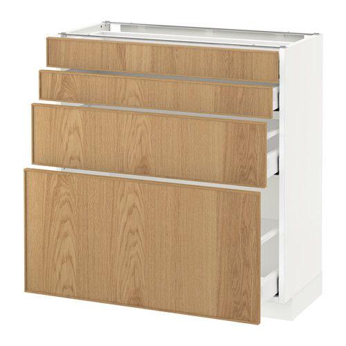 IKEA - METOD / MAXIMERA, Élt bas 4 faces/4 tiroirs, blanc, 80x37 cm, Ekestad chêne, , Amortisseurs intégrés pour une fermeture des portes en douceur et en silence.Les tiroirs coulissent entièrement : ainsi le contenu est facilement accessible et visible.Tiroirs faciles à ouvrir avec arrêt.Les tiroirs se ferment automatiquement en fin de course.Structure de construction solide - 18 mm d'épaisseur.