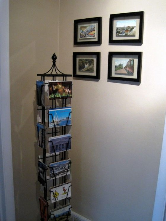 I found this postcard rack at Pottery Barn on clearance, and I knew I'd finally found a home for my childhood postcards.