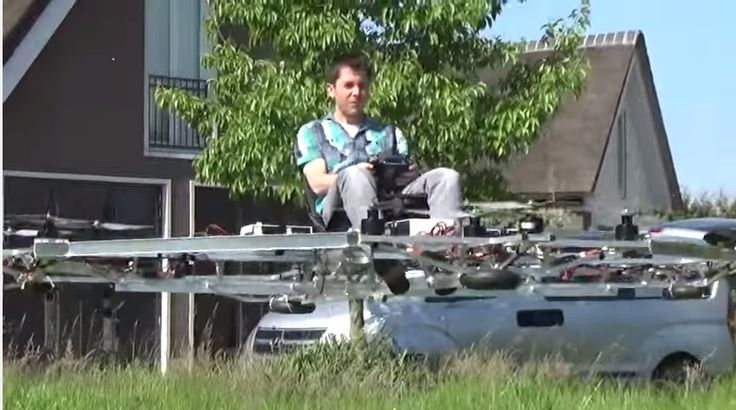 Watch this crazy video of an engineer riding a human-sized drone | It's not exactly like the flying cars that science-fiction movies have been promising us for years—it looks more like a go-kart attached to a set of ceiling fans—but it's a start.