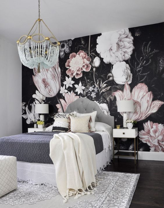 One Room Challenge. Love the bold wallpaper, unique chandelier, gorgeous crochet bed linens. bedroom decor design decorating: