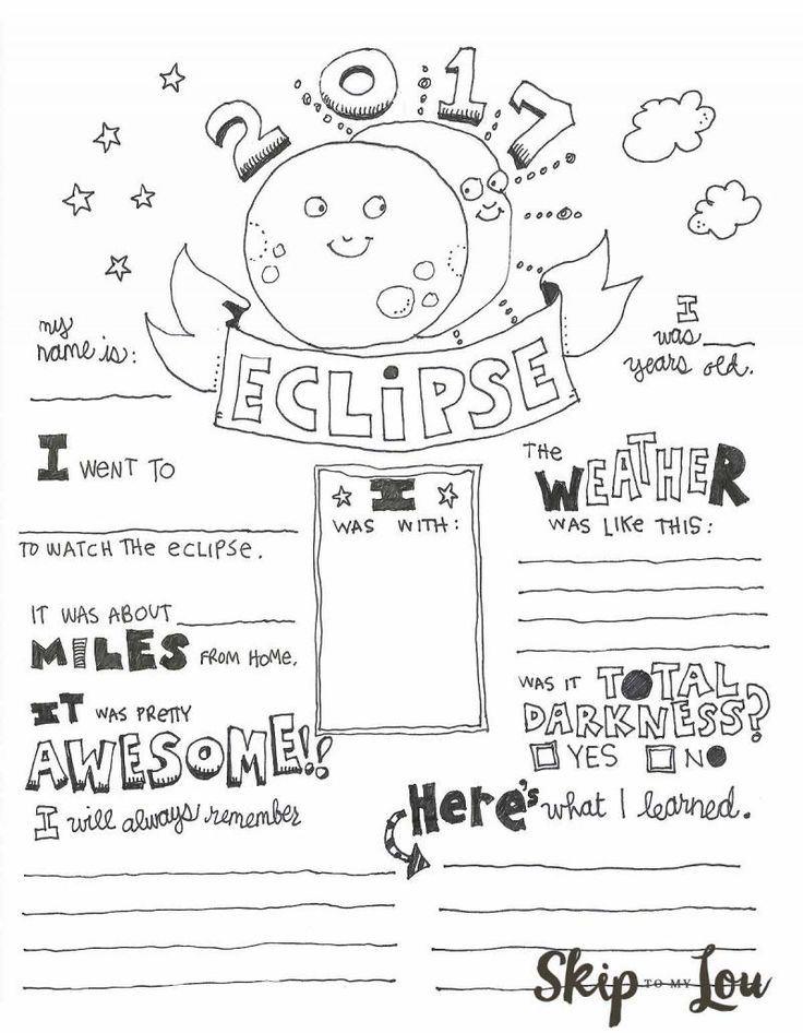 2017 Solar Eclipse Coloring page also known as an Eclipse Graphic Organizer makes a cute way to record this very special event. MichaelsMakers Skip To My Lou