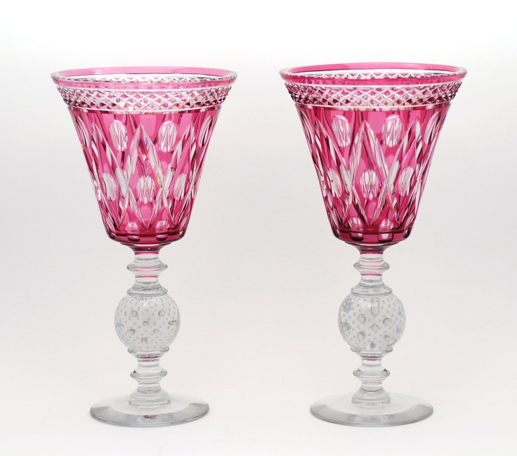 Pair of Antique Pairpoint Cranberry Overlay Cut to Clear Vases.  Love cranberry glass!