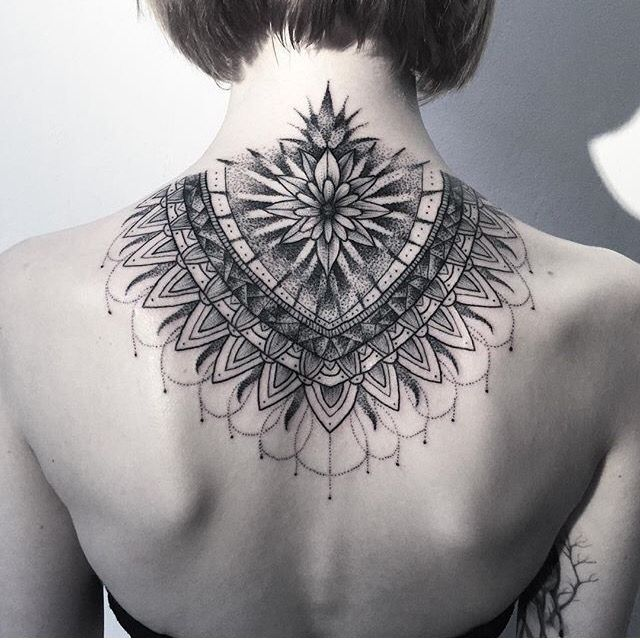 Ink tattoo neck back mandala