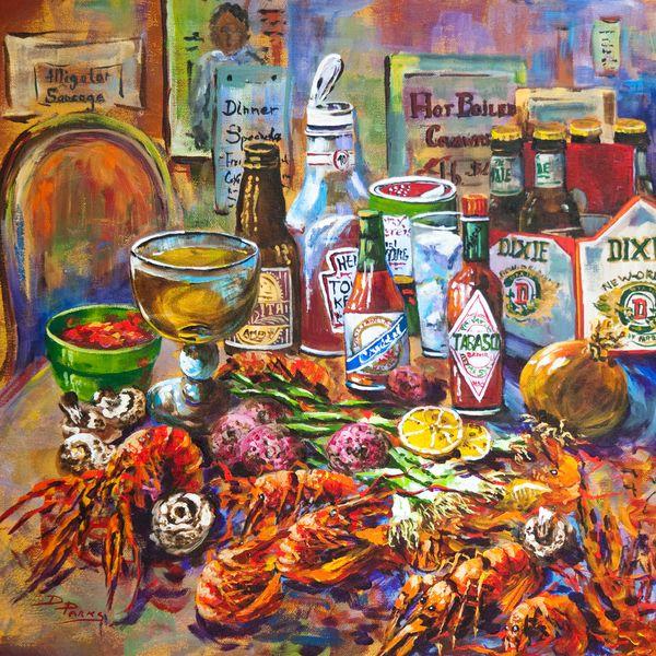 La Table De Fruits De Mer Painting by Dianne Parks - La Table De Fruits De Mer Fine Art Prints and Posters for Sale