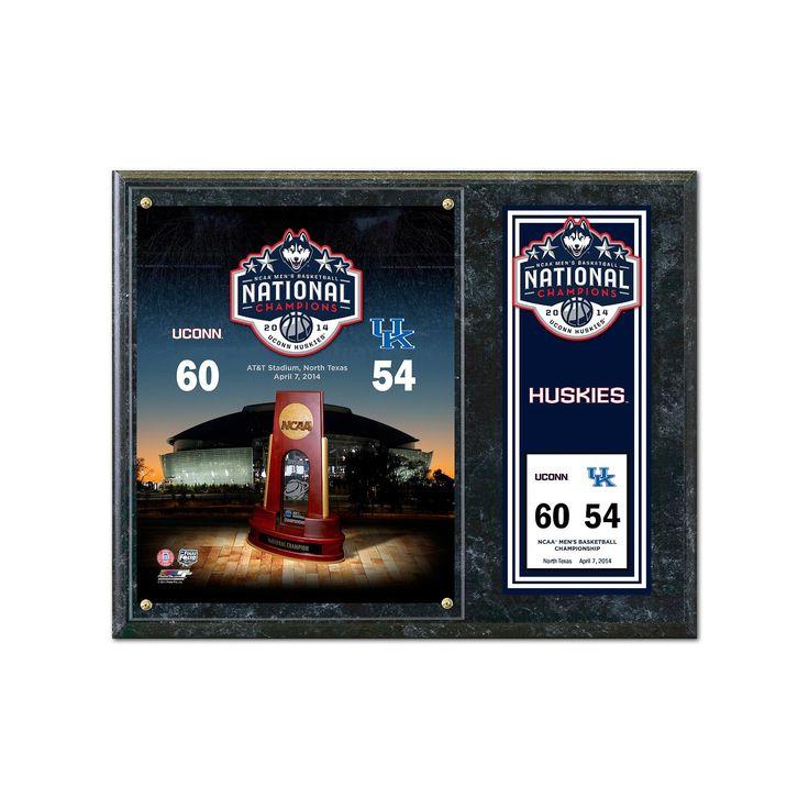 "UConn Huskies 2014 Ncaa Men's Basketball Champions 12"" x 15"" Plaque, Multicolor"