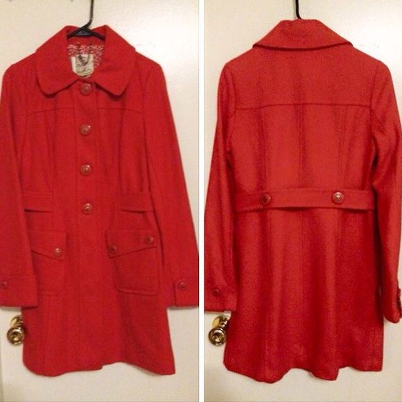TULLE Orange Winter Trench Coat M New with tags! Tulle Jackets & Coats Trench Coats