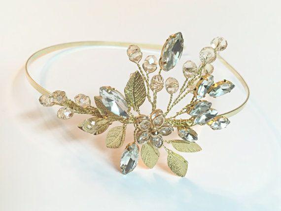 Bruiloft hoofdband goud, bloem tiara bruids hoofdband, bloem hoofdband voor bruids haar stuk, bruid, bruiloft haaraccessoires, tiara met hoofdband