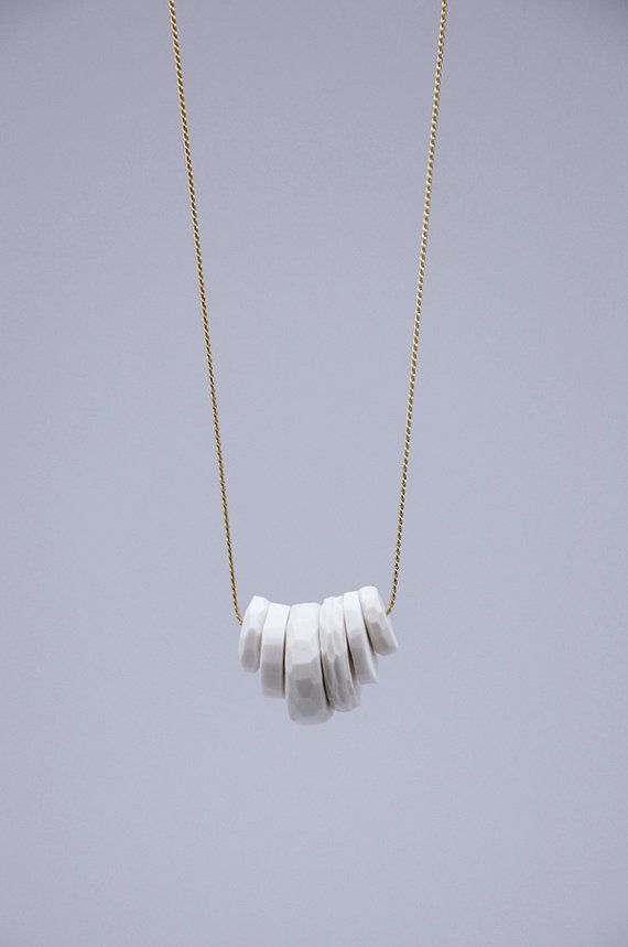 WHITE PORCELAIN necklace // porcelain jewelry // faceted beads - The Heiress Atelier