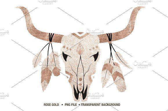 Rose Gold And Glitter Cow Skull Png Cow Skull Skull Logo Skull