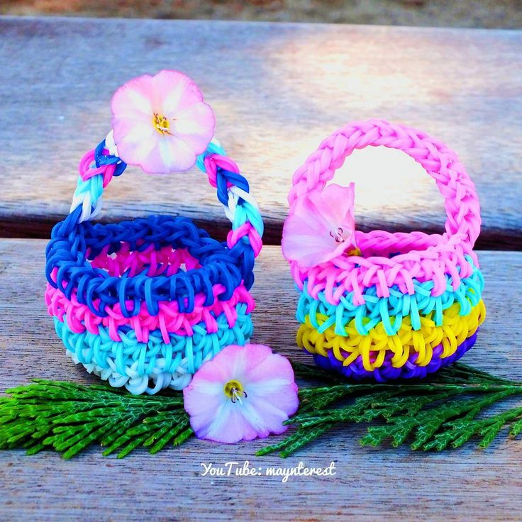 Cestitas hechas a mano con gomitas (ligas)   #crafts #DIY #doityourself #hazlotumismo #manualidades #crochet #ganchillo #gomitas #ligas #rainbowloom #loombands #cestas #cestitas