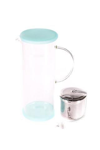 """Pichet à thé glacé """"For Life"""" en verre Lucent de couleur bleu-menthe"""