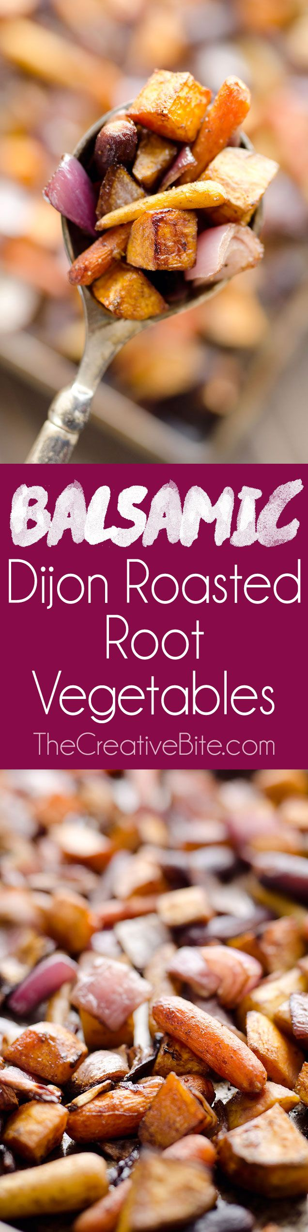 Balsamic Dijon Roasted Root Vegetables is an easy and healthy side dish bursting with tangy balsamic flavor and loaded with sweet potatoes, carrots and onions. #Vegetarian #SideDish #Healthy