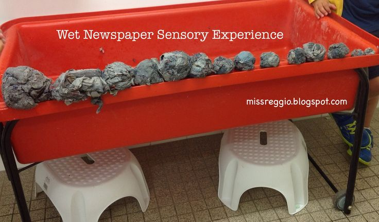 Try putting newspaper and water in your sensory tub for some icky fun! The boys had a blast making 'bombs' and the exploration turned into a size sorting activity. Validation that the curriculum emerges when you allow children to explore! missreggio.blogspot.com
