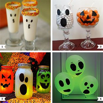 All kinds of fun Halloween party food, decorations, no carve pumpkin ideas!
