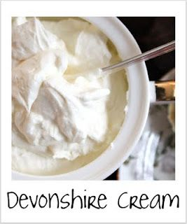 ♔ Devonshire cream3 oz of cream cheese, softened 3 Tbsp granulated sugar a pinch of salt 1 cup whipping cream Cream the cream cheese, sugar and salt in a large mixing bowl. Slowly add whipping cream and whip until stiff peaks form. Chill before serving. Serve with scones and jam.