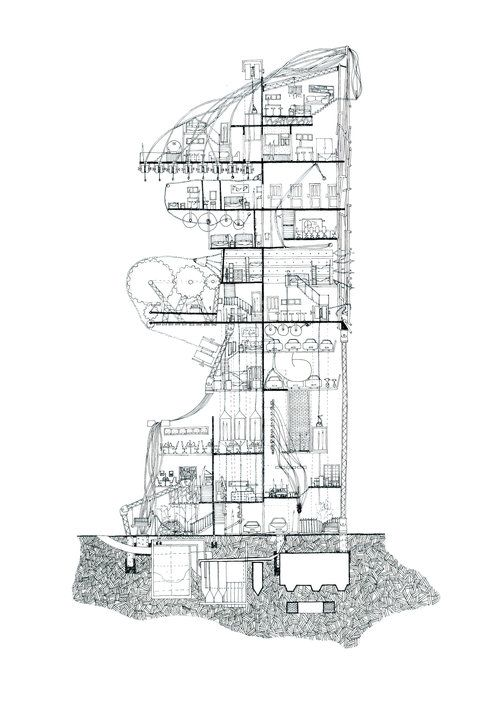 Ellie Compton: The Archive series New Zealand Artist that intertwines architecture and Narrative in complex hand drawings