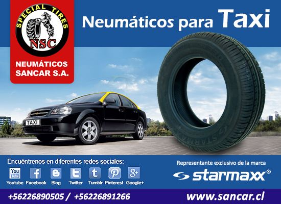 Taxi   Neumáticos Starmaxx línea TOLERO y NOVARO de alta duración y resistencia. Rentabiliza su inversión en su conducción brindando además una marcha silenciosa y segura.  Representante Exclusivo en Chile de Starmaxx Neumáticos Sancar, Todos en un solo lugar. http://www.sancar.cl | ventas@sancar.cl | +56226890505 | +56226891266