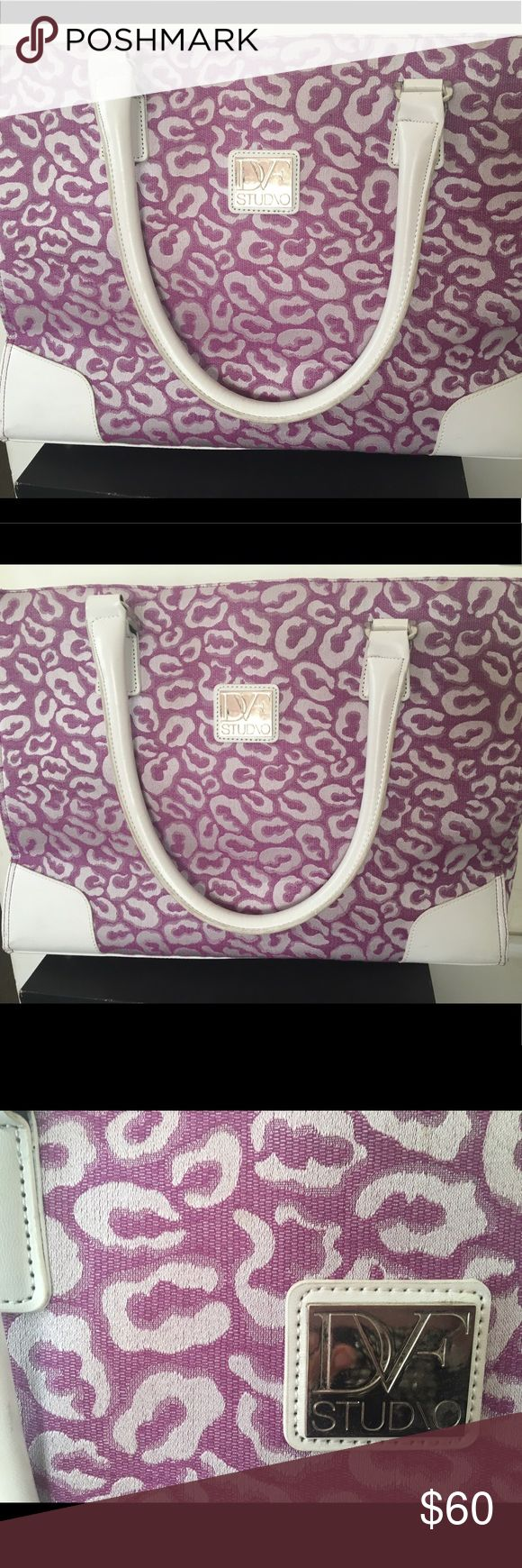 DVF Studio Large Purple Tote Bag With White Straps DVF Studio Large Purple Tote Shopping Bag With White Straps DVF Bags Totes