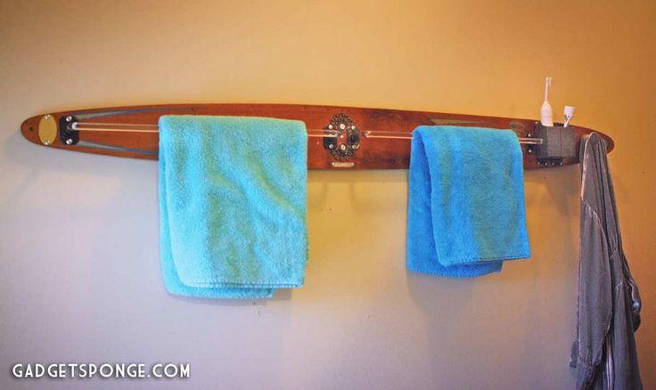 Repurposed / Upcycled Vintage Water Ski Towel & Robe Rack :: Hometalk