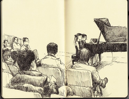 Piano Concert by Adolfo Arranz  #Moleskine: Arranz Moleskine, Moleskine Sketchbooks, Piano Concerts, Moleskine Art, Piano Sketch