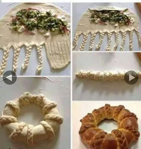 Pan relleno en forma de corona