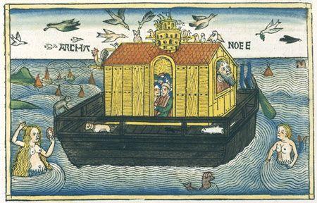 Nuremburg Bible (1483) illustration shows a mermaid, merman and mer-dog swimming near Noahs Ark Victoria  Albert Museum, LondonArt Resource