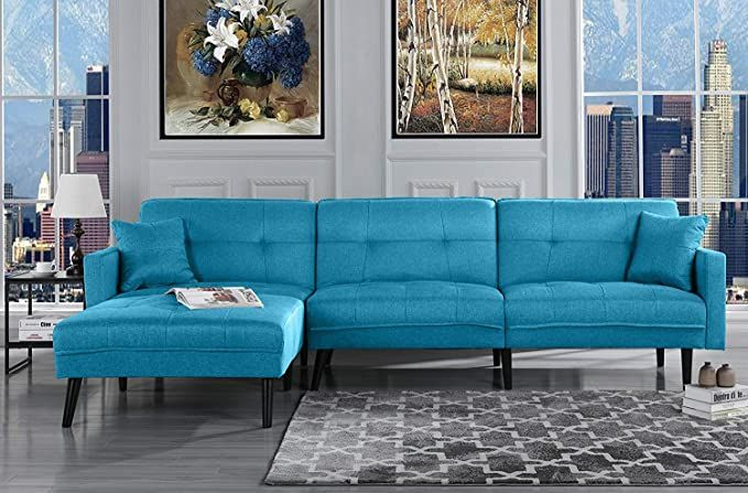 Amazon Com Futon Sleeper Sofa Bed Couch Convertible Blue Futon Sofa Sectional With Chaise Sofa To Be In 2020 Sky Blue Sofa Blue Sofa Living Mid Century Living Room