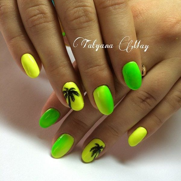 Green and yellow themed Palm Tree Nail Art design. The entire color combination looks like a fresh fruit with the combination of the black silhouette palm trees it looks like the perfect summer getaway polish.
