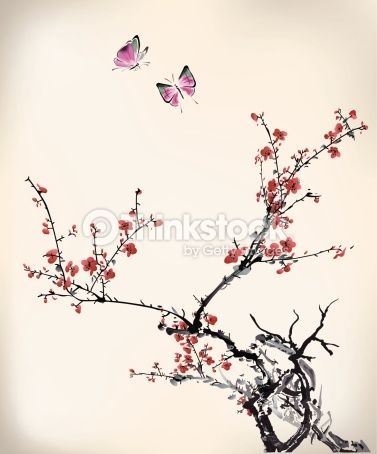 Pommier du japon dessin peinture | Ink Style Butterfly And Winter Sweet Clipart vectoriel | Thinkstock